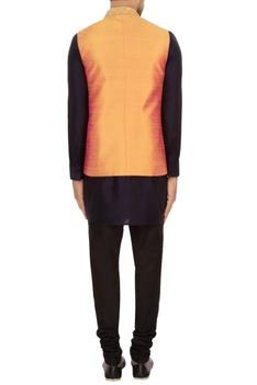 Orange raw silk solid nehru jacket