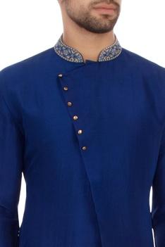 Bright blue dupion silk embroidered kurta