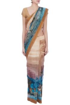 Multi-colored chanderi & cotton silk printed sari with brocade blouse