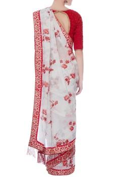 Multi-colored chanderi & cotton silk printed sari with embroidered blouse