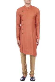 Red check patterned matka silk kurta