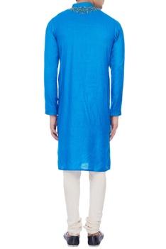 Blue muga silk embroidered kurta