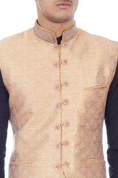 Peach brocade nehru jacket