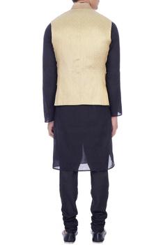 Mint green and gold brocade nehru jacket