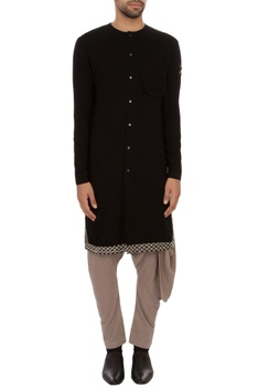 Black organic cotton hand-woven kurta