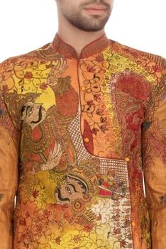 Orange & yellow garad silk embroidered angrakha kurta set
