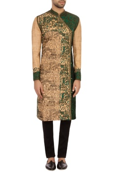 Beige & green tussar silk embroidered angrakha kurta set