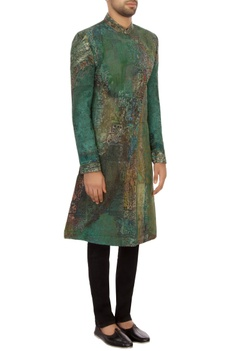 Aqua green khadi embroidered sherwani set