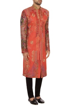Pink khadi embroidered bandhgala sherwani set