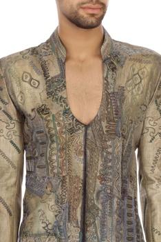 Steel grey bengal silk embroidered sherwani set