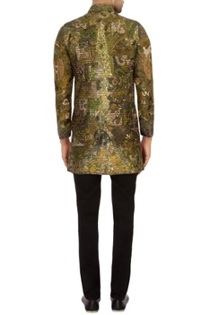 Moss Green & black garad silk embroidered bandhgala jacket set