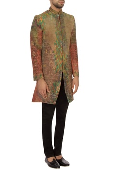 Green & rust khadi embroidered bandhgala jacket set