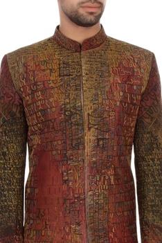 Maroon & black bengal silk embroidered sherwani set