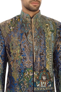 Blue & green brocade silk embroidered bandhgala jacket set