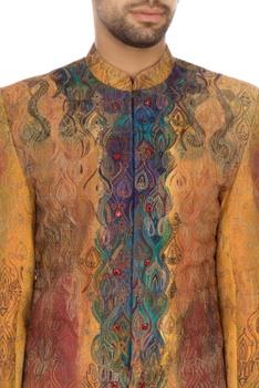 Yellow & rust khadi embroidered sherwani set
