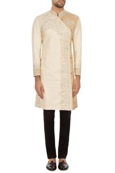 Off white garad tussar silk embroidered angrakha kurta set