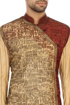 Beige & maroon tussar silk embroidered angrakha kurta set