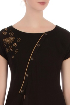 Black double georgette embellished blouse with pants