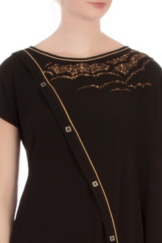 Black georgette embroidered blouse