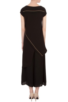 Black georgette asymmetric tunic with pants