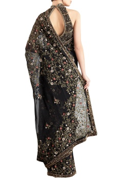 Black & mint green chiffon jaal embroidered saree with blouse
