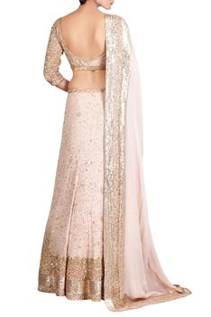 Pink chiffon kachra bead embellished lehenga set