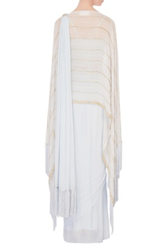 Ice blue gold motif sari with cape