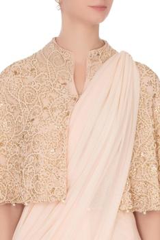 Light pink georgette sari with cape & spaghetti blouse