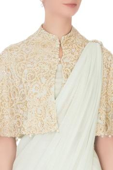Light green georgette tassel sari with blouse & cape
