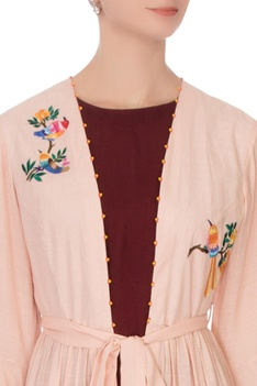 Wine red linen silk kurta with baby pink embroidered mastani jacket