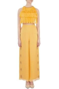 Yellow layered blouse & palazzo pants