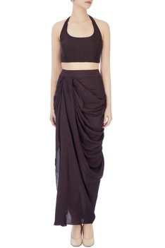 Black dhoti set with burgundy embellished cape