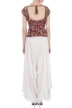 Maroon & off white raw silk & satin silk peplum blouse with dhoti pants