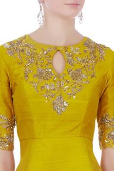 Yellow & off white raw silk & satin silk peplum blouse with dhoti pants