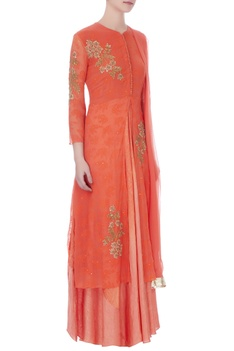 Orange & red chiffon hand embroidery kurta, skirt and dupatta