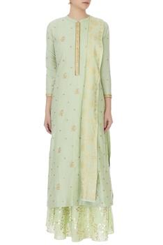 Mint green cotton silk embroidered kurta, skirt and dupatta