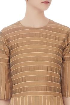Brown self woven striped brown tunic