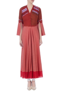 Maroon south cotton elbow slit kurta