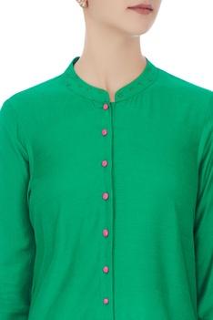 Green chanderi hand-block printed kurta