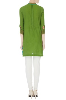 Green south cotton hand-block printed short kurta