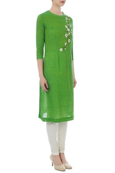 Green resham floral embroidered tunic