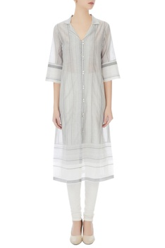 Grey front open button down kurta