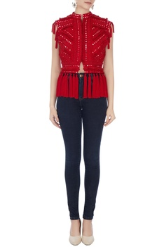 Red mirror embroidered short jacket