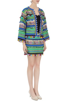 Multicolored ikat dyed hand-embroidered jacket