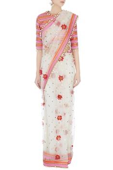 Cream rajasthani shell work sari with tie-up blouse