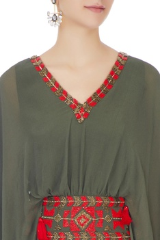 Khaki green long georgette kaftan