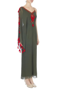 Khaki green one-shoulder bead hand-embroidered jumpsuit