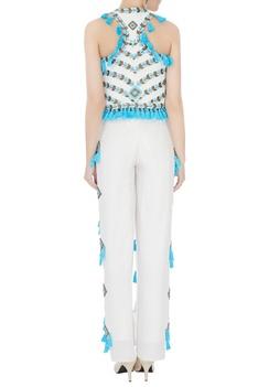 Blue & white hand-embroidered tassel waistcoat
