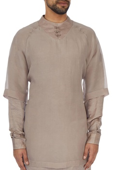 Onion pink layered chanderi kurta