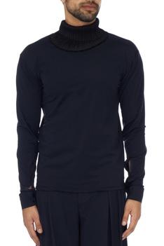 Black pleated collar econyl top